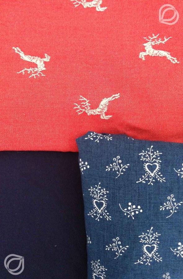 Stoffkombination Hirsch+Herz, Rot+Blau